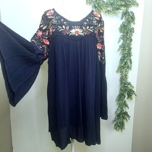 Jodifl Navy Embroidered Flower Dress L